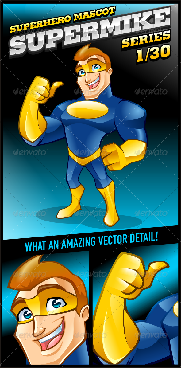 GraphicRiver Superhero Mascot Supermike Series 1 30 3585015