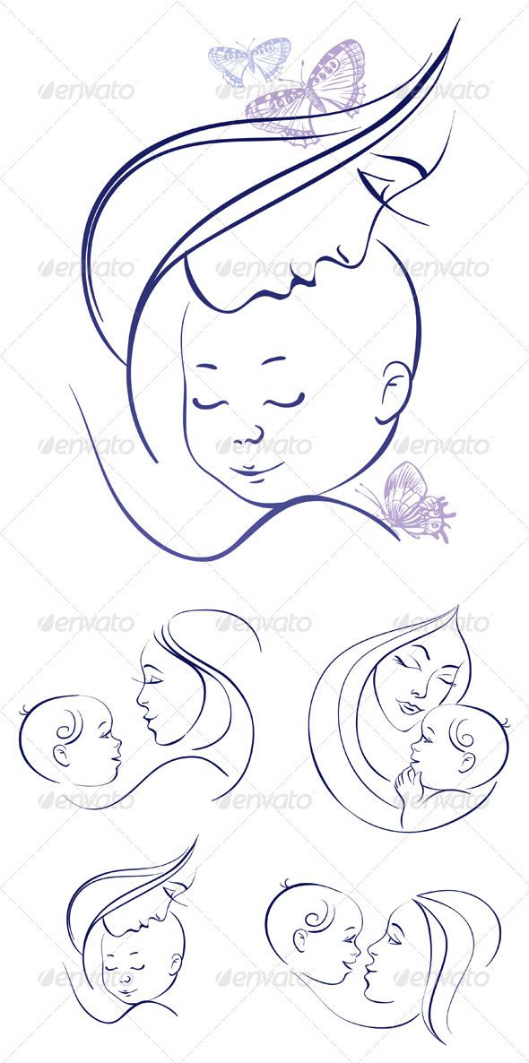 GraphicRiver Mother and Baby Icon Set 3610384