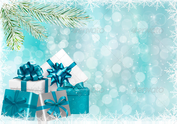 GraphicRiver Christmas Blue Background with Gift Boxes 3583086