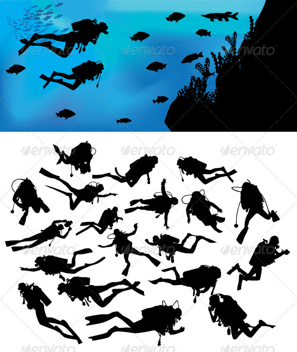 GraphicRiver Scuba Diving Silhouettes 3610584