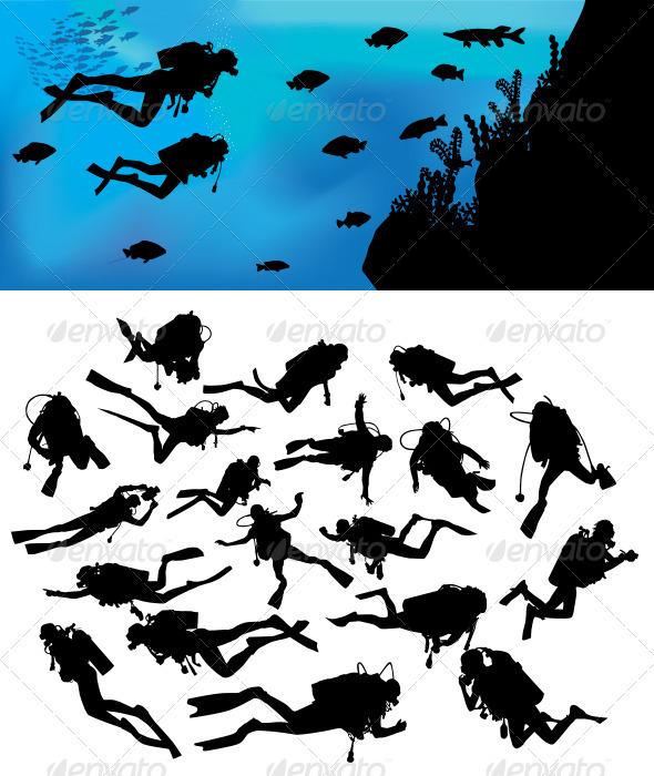 GraphicRiver Scuba Diving Silhouettes 3610584