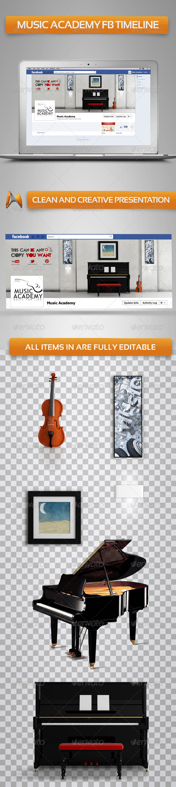 GraphicRiver Music Academy FB Timeline 3610940