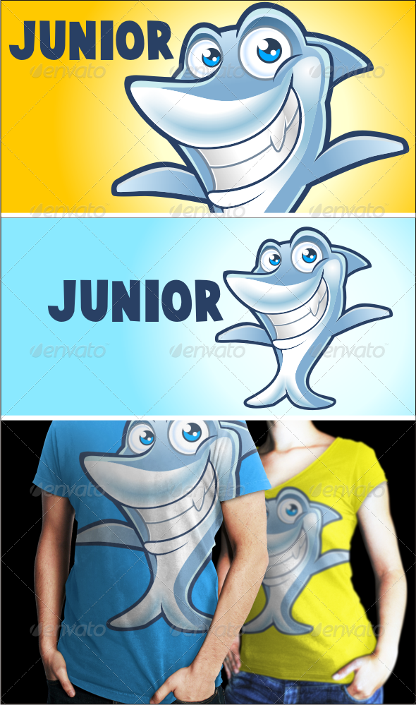 GraphicRiver Junior The Shark Logo Template 3611208