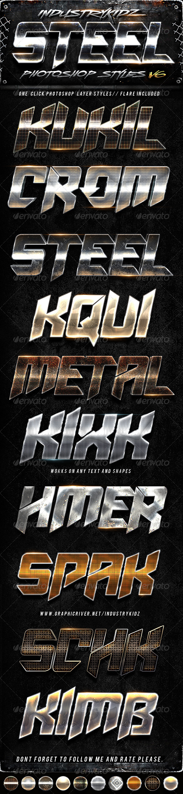 Metal Steel Photoshop Layers Styles V6 - Text Effects Styles