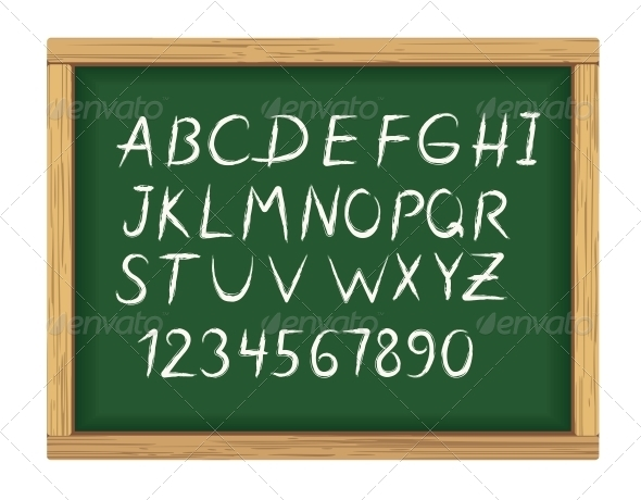 GraphicRiver School Board with Chalk Alphabet Letters 3612246