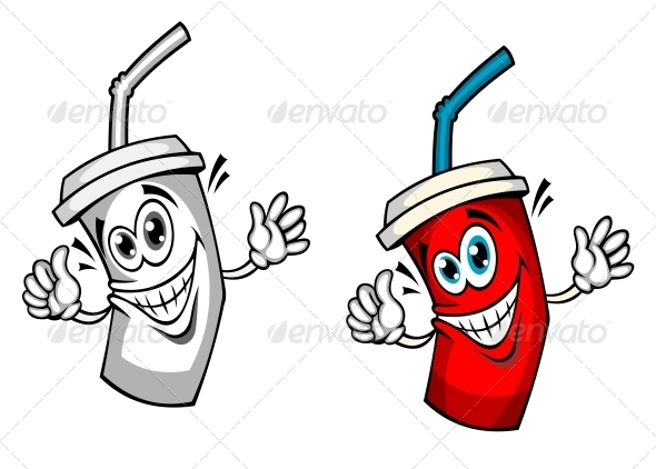 Fresh Soda Drink with Straw - Food Objects