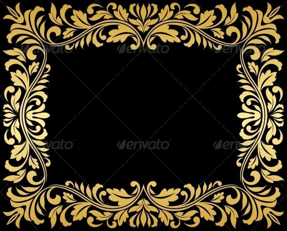 GraphicRiver Vintage Gold Frame with Floral Elements 3612359