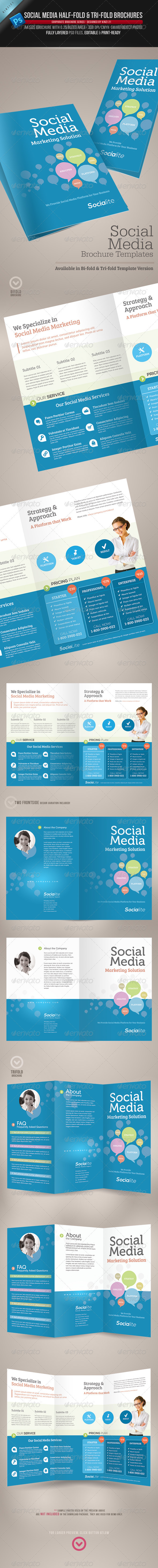 GraphicRiver Social Media Half-fold and Tri-fold Brochures 3613027