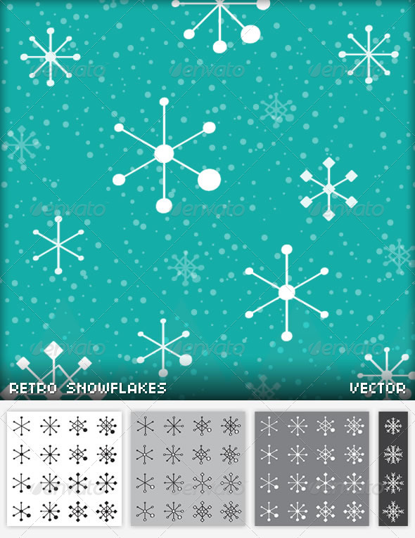 48 Retro Snowflakes - Christmas Seasons/Holidays