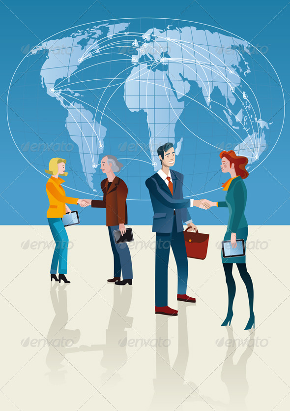Business People and World Map