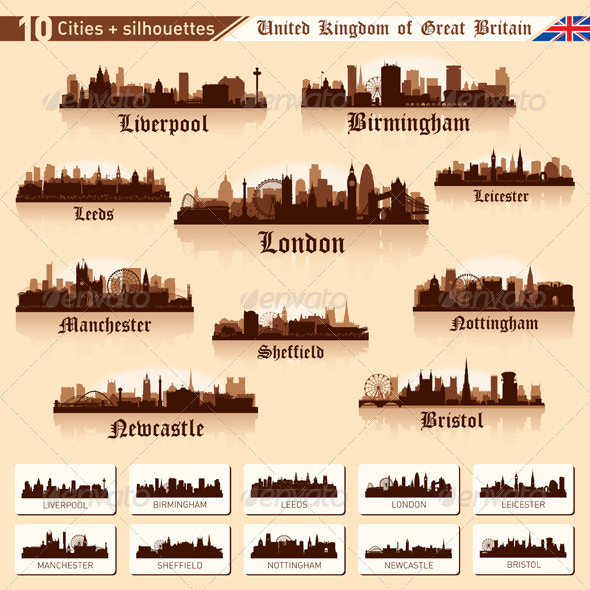 GraphicRiver City Skyline Set 10 cities of Great Britain #1 3614223