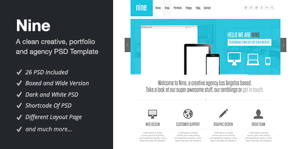 ThemeForest Nine PSD 3614318