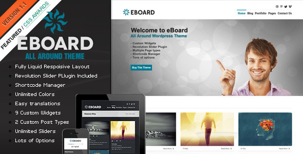 ThemeForest eBoard All Around Wordpress Theme WordPress Corporate 3548686