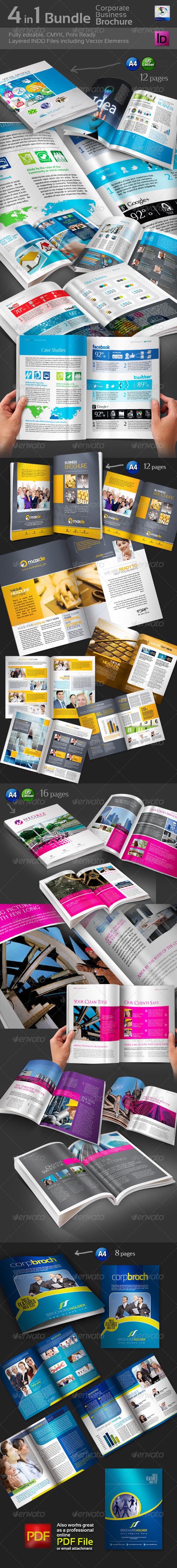 GraphicRiver 4 in 1 Bundle Bi-Fold Brochure 3614406