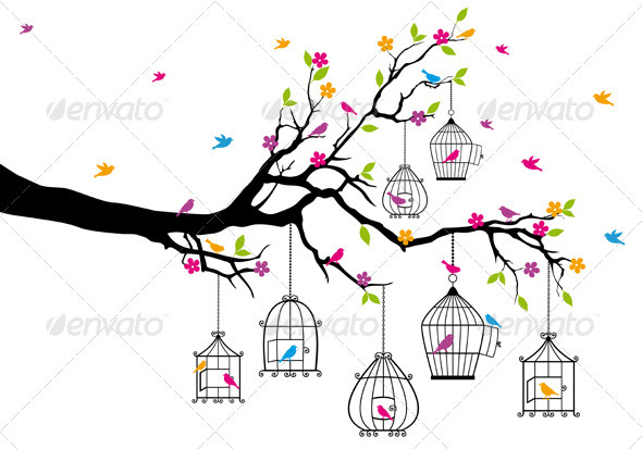 GraphicRiver Vector Tree With Birds and Birdcages 3614454