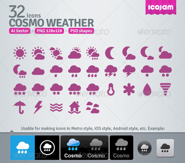 GraphicRiver 32 AI and PSD Weather Icons 3363223