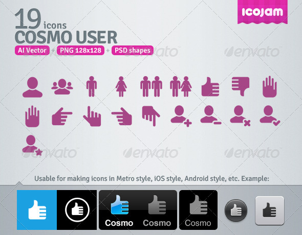 19 AI and PSD User Icons - Media Icons