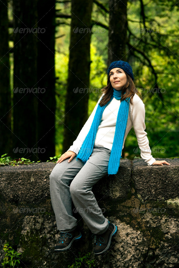 Woman in nature thinking - Stock Photo - Images
