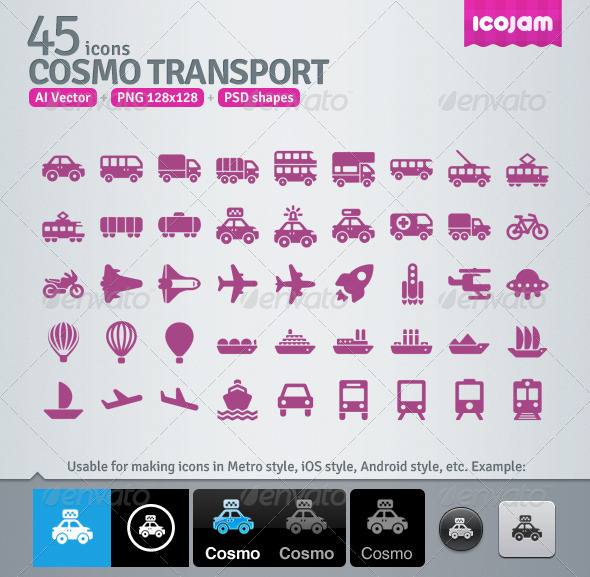 GraphicRiver 45 AI and PSD Transport Icons 3363173