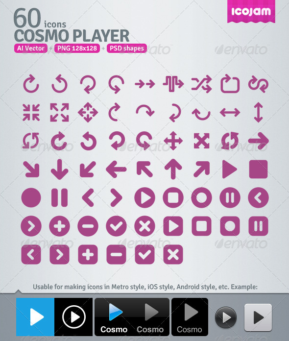 GraphicRiver 60 AI and PSD Player Icons 3363165