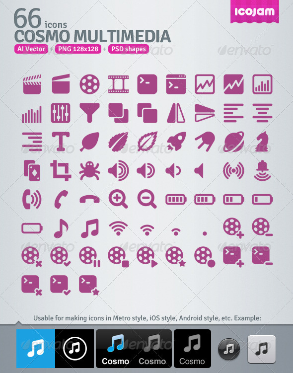 GraphicRiver 66 AI and PSD Multimedia Icons 3363127