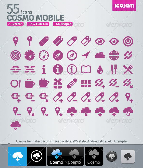 55 AI and PSD Mobile Icons - Media Icons
