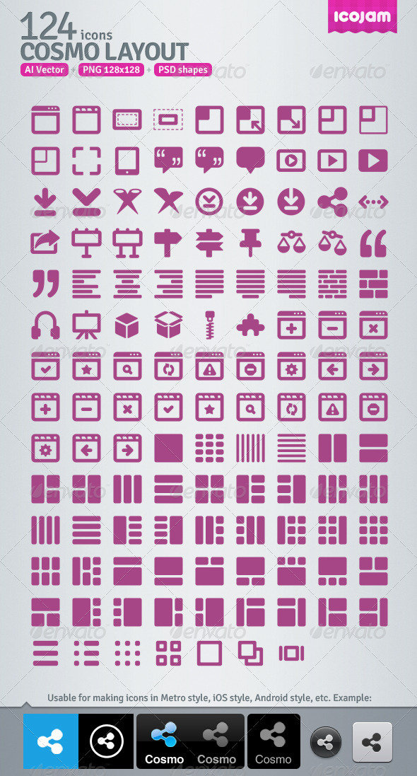 124 AI and PSD Layout Icons - Media Icons