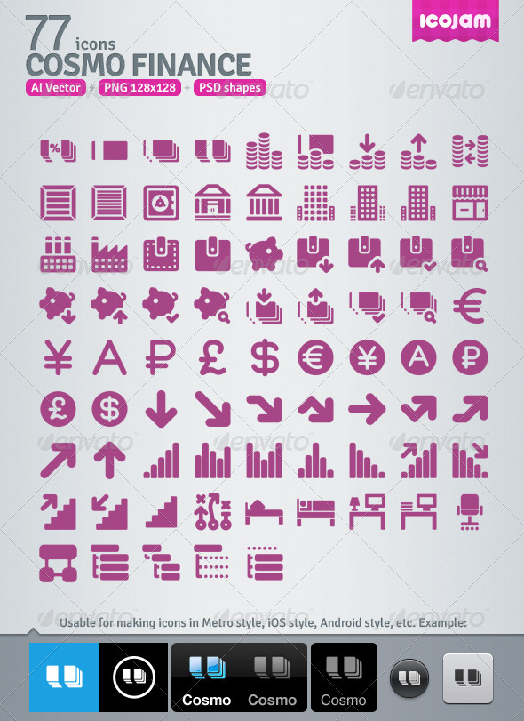 77 AI and PSD Finance Icons - Media Icons