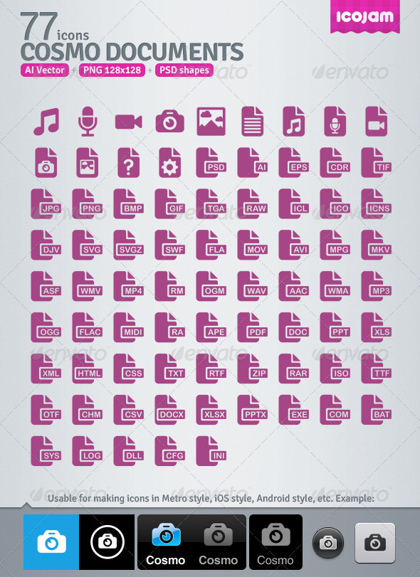 GraphicRiver 77 AI and PSD Documents Icons 3363091