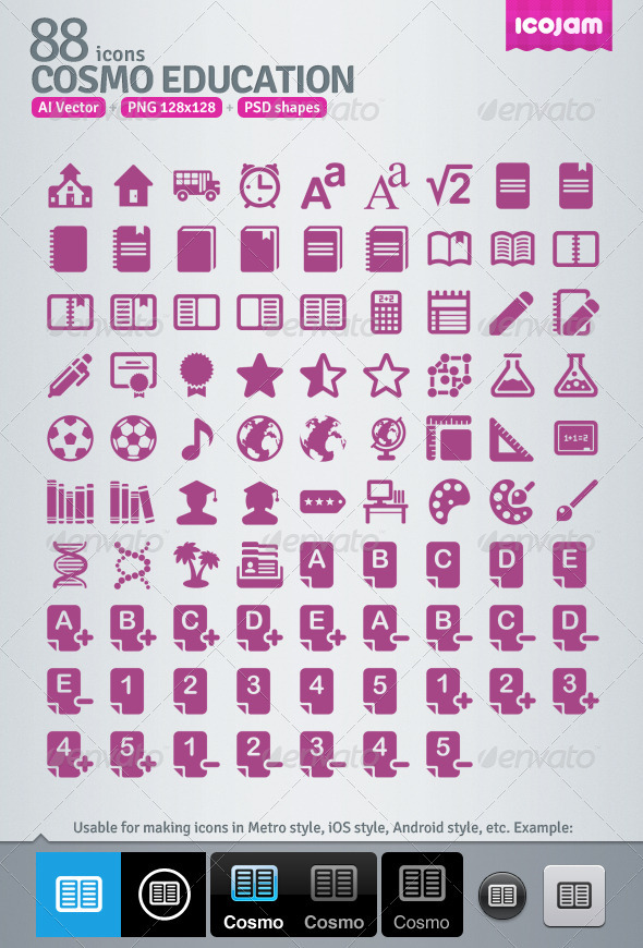 88 AI and PSD Education Icons