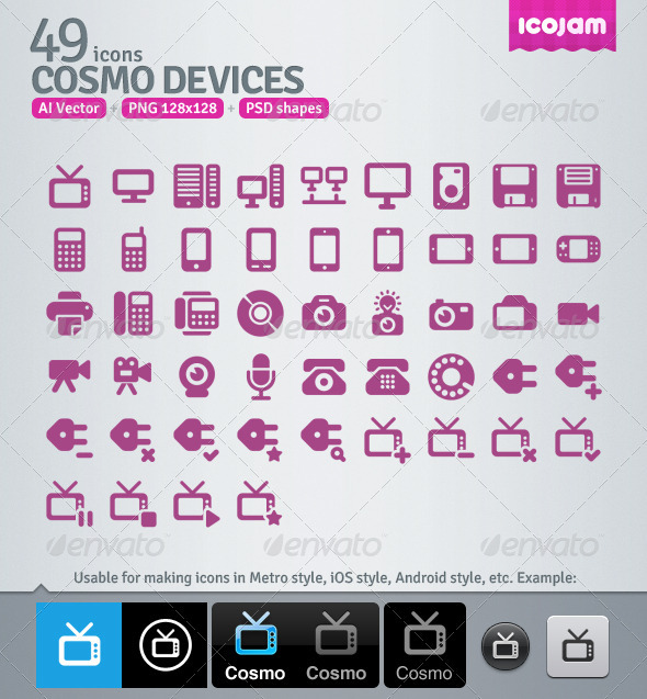 GraphicRiver 49 AI and PSD Devices Icons 3363058