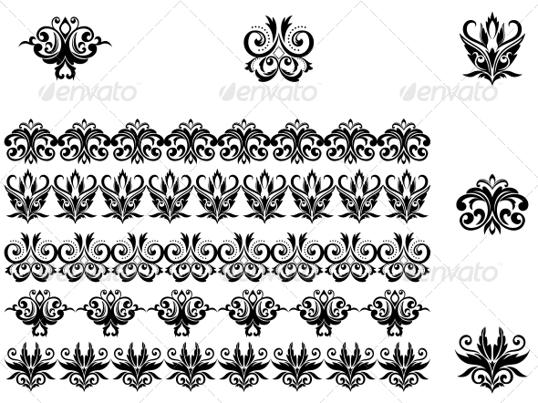 GraphicRiver Flower Patterns and Borders 3617960