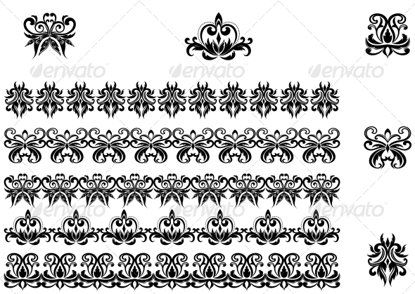 GraphicRiver Flower Patterns and Borders 3617965