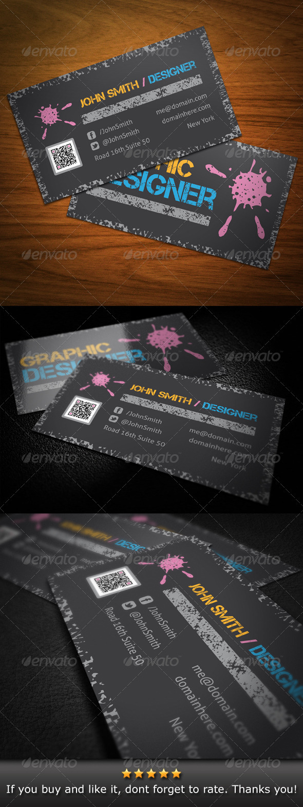 GraphicRiver Grunge Graphic Designer Business Card 3617993