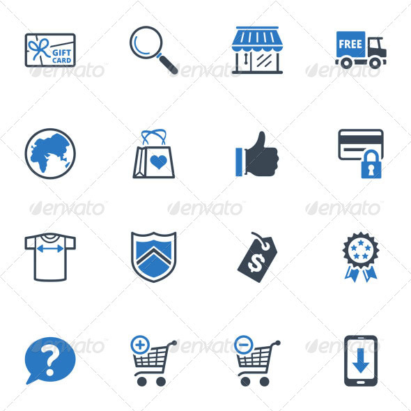 GraphicRiver Shopping and E-commerce Icons Set 2 Blue Series 3618264
