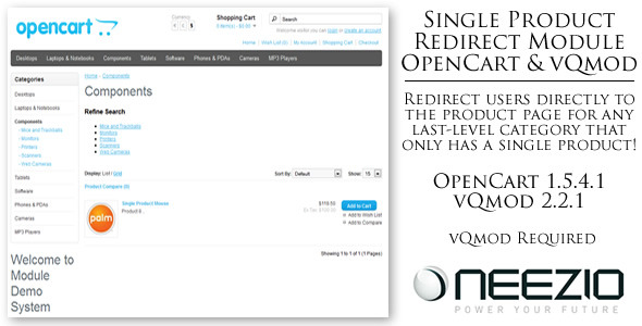 CodeCanyon Single Product Redirect Module for OpenCart vQmod 3604873