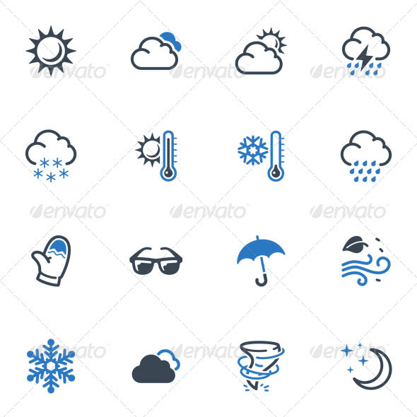 GraphicRiver Weather Icons Blue Series 3618385