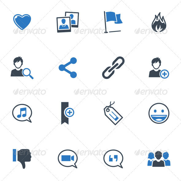 Social Media Icons Set 2 Blue Series