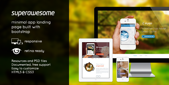 ThemeForest Superawesome Retina Bootstrap App Landing Page 3597882