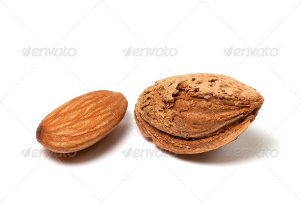 Two almonds on white background - Stock Photo - Images