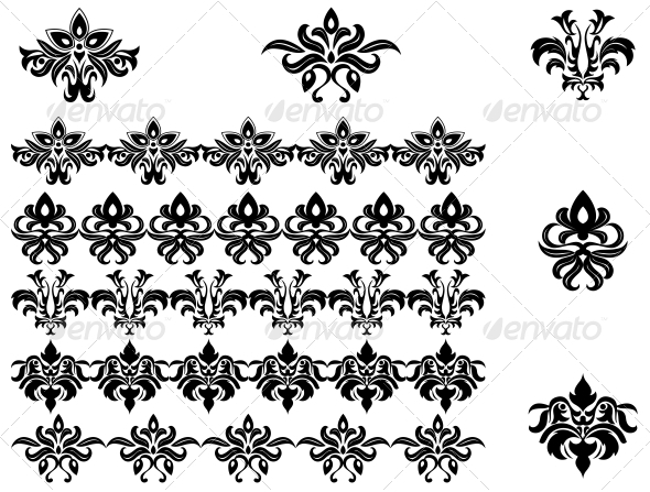 GraphicRiver Flower Patterns and Borders 3619400