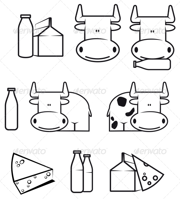 GraphicRiver Cow and Dairy Food 3619520