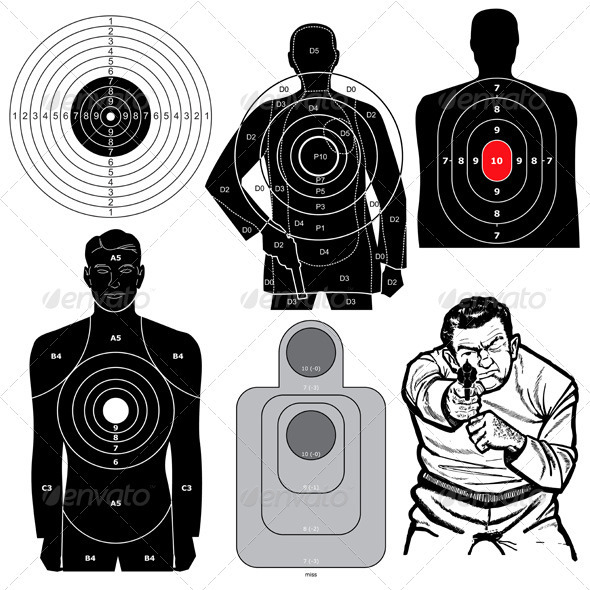 GraphicRiver Set of 6 Vector Shooting Targets 3621099