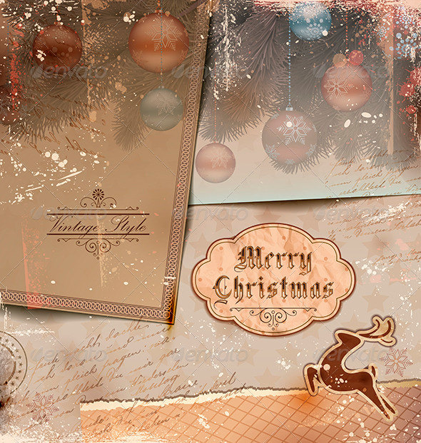 GraphicRiver Vintage Christmas Background 3576043