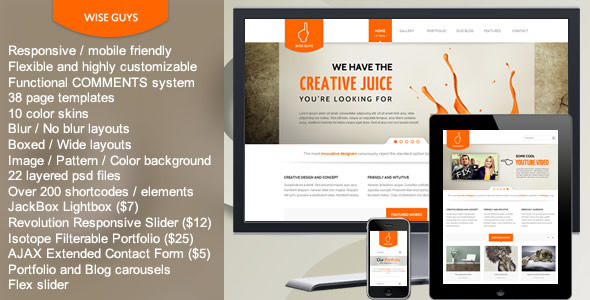 ThemeForest Wise Guys Responsive Multipurpose HTML5 Template 3463457