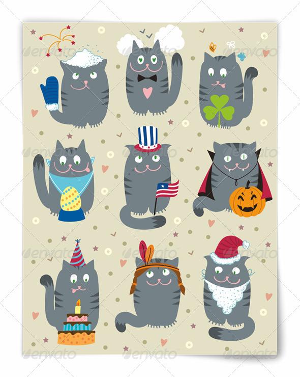 GraphicRiver Cats Celebrating Holidays 3622322