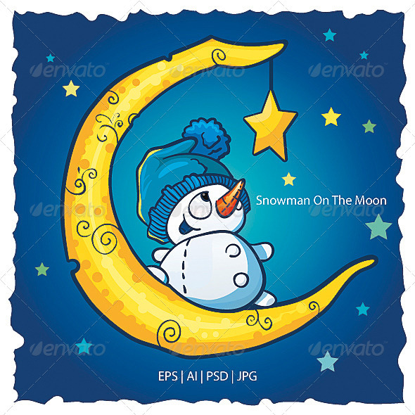 GraphicRiver Snowman On The Moon 3622356