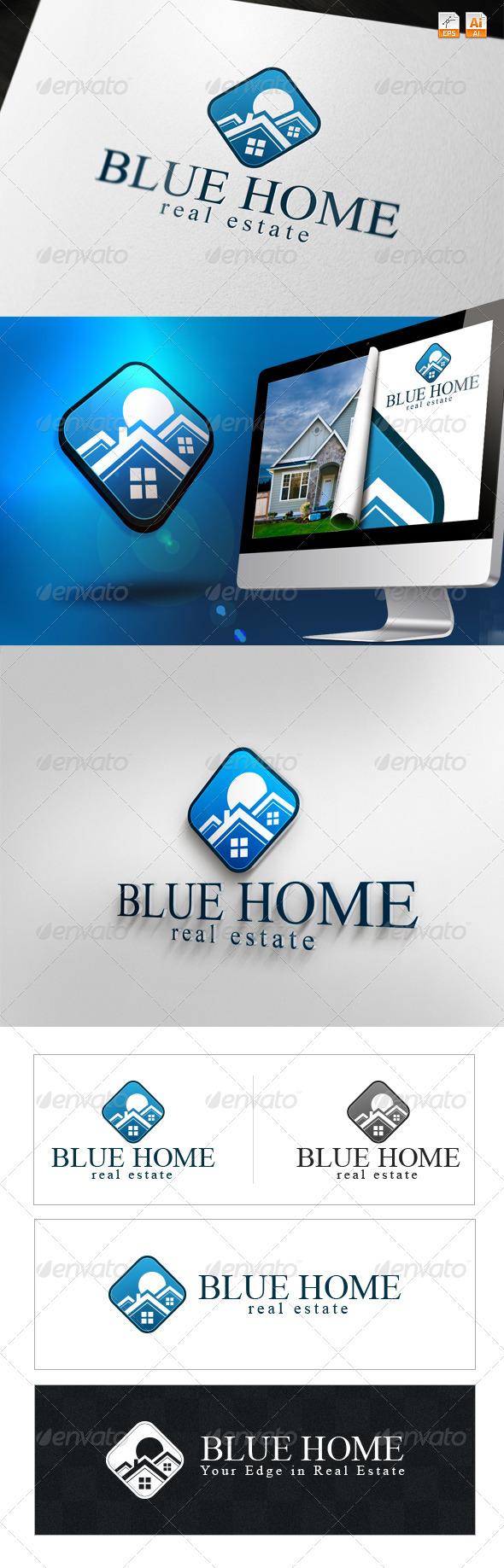 GraphicRiver Blue Home Real Estate Logo 3622496