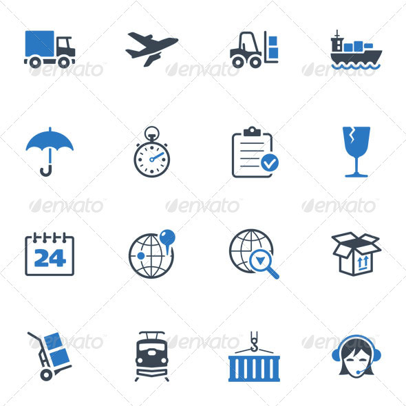 GraphicRiver Logistics Icons Blue Series 3623525