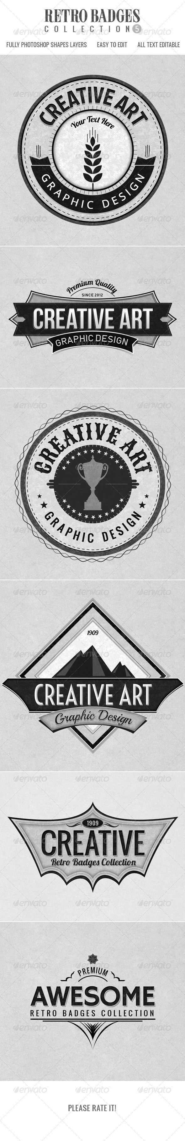 GraphicRiver Retro Badges col.5 3623800